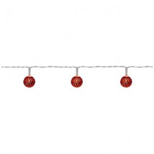 LED-Minilichterkette mit 10 warmweiße LEDs Metallkugeln rot batteriebetrieben