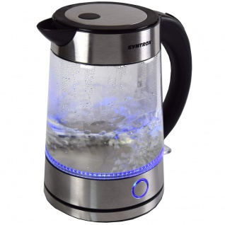 Syntrox 1, 7 Liter Edelstahl schnurlos Glas Wasserkocher Rio mit blauem LED Licht 360°