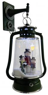 Schneiende LED Laterne 35 cm Motiv Schneemann Familie, für INNEN