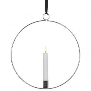 Fensterbild, 1 ww LED, FLAMME RING silber, Echtwachskerze, silber
