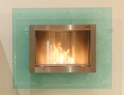 Wandkamin Feuerstelle Kamin 110 x 90 cm Crash Glas grün