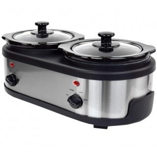 Syntrox Edelstahl Slow Cooker 2 x 1, 5 Liter - Vorschau 4