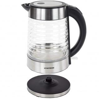 Syntrox 1, 7 Liter Edelstahl schnurlos Glas Wasserkocher Agua mit blauem LED Licht 360 - Vorschau 5
