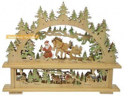 HEITRONIC LED Holzleuchter Weihnachtsmann und Kutsche batteriebetrieben
