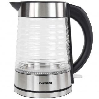 Syntrox 1, 7 Liter Edelstahl schnurlos Glas Wasserkocher Agua mit blauem LED Licht 360 - Vorschau 4