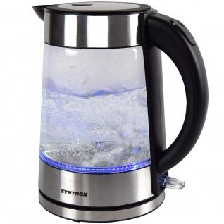Syntrox 1, 7 Liter Edelstahl schnurlos Glas Wasserkocher Lago mit blauem LED Licht 360° cordess Wasserkessel - Vorschau 3