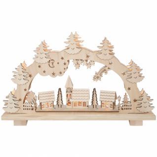 MH Weihnachtsleuchter Schwibbogen mit 7 Minilichter Winterdorf Holz