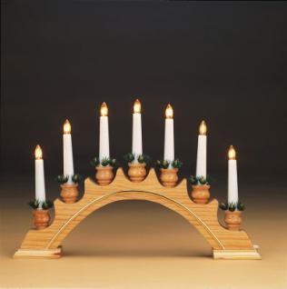 Hellum Leuchter Holz Goldleiste natur 7 BS