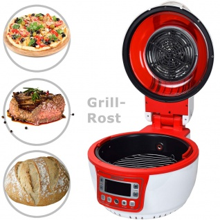 """Syntrox Turbo-Heißluftfritteuse Heißluftgarer Airfryer Küchenmaschine mit LED-Display """" rot"""" - Vorschau 4"""