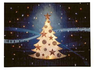 LED-Bild Fiberoptik Weihnachtsbaum im Schnee warmweiß innen