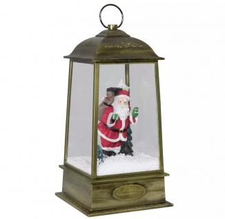 Christmas Paradise Schneiende LED Laterne Motiv Santa, gold, INNEN