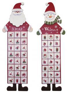 Adventskalender ungefüllt, Design Santa + Schneeman