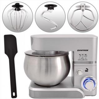 Küchenmaschine Knetmaschine 5, 0 Liter 1000 Watt - silber