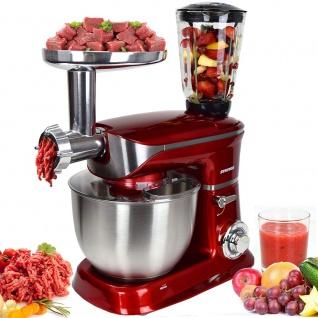 Syntrox Germany Küchenmaschine Knetmaschine mit Fleischwolf und Mixer, 6, 5 Liter KM-1300W de Luxe