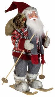 Weihnachtsmann Santaclaus Nikolaus 45 cm BENT auf Ski