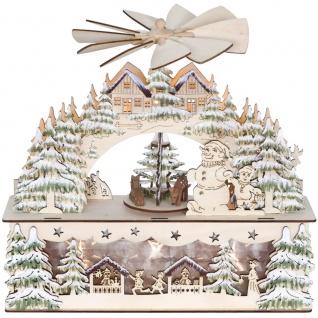 Weihnachtsleuchter und Pyramide, Weihnachtsmarkt im Winterwald, warmweiße LEDs