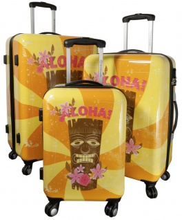 Kofferset 3 tlg. Trolleyset Reisekoffer Hartschale Hawaii - Vorschau 3