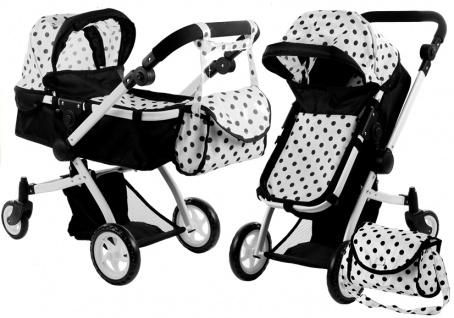 Puppenwagen Alice Kinderwagen 2in1 Puppe Babytrage Wagen Schwarz
