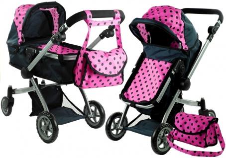 Puppenwagen Alice Kinderwagen 2in1 Puppe Babytrage Wagen Rosa