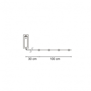 LED-Minilichterkette, 20 bunte LEDs, L 1 m