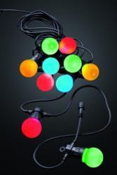 LED Party Lichterkette + Trafo, 20-teilig bunt, 12 m, Innen- und Außen