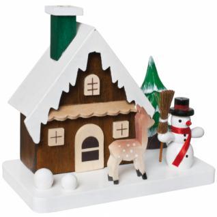Räucherhaus, Holz, Reh und Schneemann