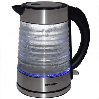 Syntrox 1, 7 Liter Edelstahl schnurlos Glas Wasserkocher Agua mit blauem LED Licht 360 - Vorschau 2