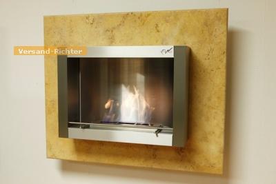 Wandkamin Feuerstelle Kamin 110 x 90 cm Antikmarmor WK-02-T Gold
