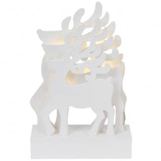 Weihnachtsleuchter, 5 warmweiße LEDs, 3D-Rentiere