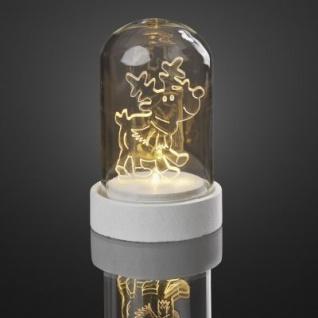 Hellum LED-Glasglocke m. Acryl-Rentier batteriebetrieben