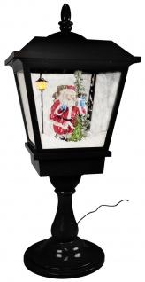 Schneiende LED Tischlaterne 65 cm, Indoor- und Outdoor, Weihnachtslaterne, Motiv Santa Claus schwarz