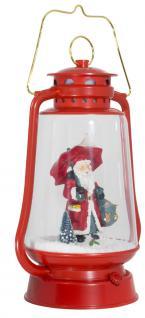 Schneiende LED Laterne 35 cm Motiv Santa rot, für INNEN