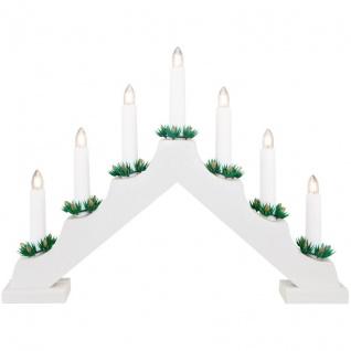 Weihnachtsleuchter, 7 warmweiße LEDs, Holz weiß, batteriebetrieben