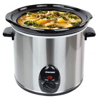 Syntrox 3, 0 Liter Edelstahl Slow Cooker mit Warmhaltefunktion