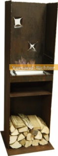 Standkamin Kamin Feuerstelle mit Rostpatina-Designer-Grill WK-20