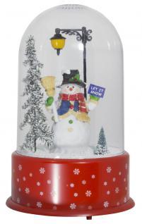 Schneiende LED Kuppel 35 cm Motiv Schneemann, für INNEN
