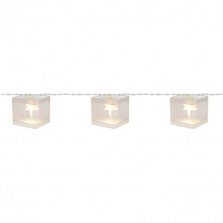 Konst Smide LED-Minilichterkette Holografiequadrate mit 10 warmweißen LEDs