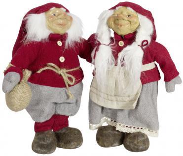 2 x Wichtel 27 cm, Weihnachtswichtel Paar, Gnom