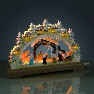 Hellum LED-Leuchter Holz Geburt Jesu 9 BS warmweiß/farbig innen
