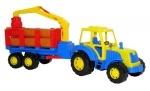 Little Farmer Traktor mit Holztransporter und Kranarm