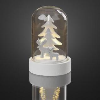 Hellum LED-Glasglocke mit Tannenbäumen/Rentieren ww batteriebetrieben