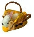 Handtasche Plüschtasche Hund, Hundetasche, gelb