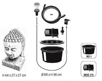 Ubbink AquaArte Wasserspiel Lasa Buddah mit LED - Vorschau 3