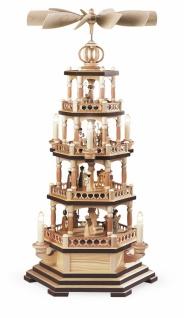 Müller-Kleinkunst aus dem Erzgebirge® seit 1899 Pyramide Heilige Geschichte 4-stöckig, natur