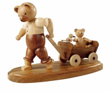 Müller-Kleinkunst aus dem Erzgebirge® seit 1899 Bärenvater mit Kind auf Bollerwagen