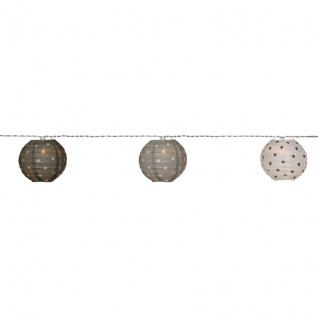 LED-Minilichterkette mit 10 warmweißen LEDs Papierkugeln weiß/grau/ schwarz batteriebetrieben