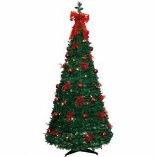 LED-Tannenbaum, 144 warmweiße LEDs, rote Deko, H 1900 mm