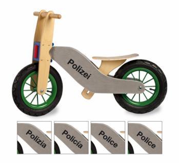 Laufrad aus Holz, Holzlaufrad, Polizei