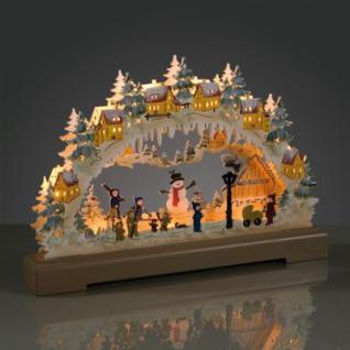 LED-Leuchter Holz Schneem./Kinder 9 BS warmweiß/farbig innen