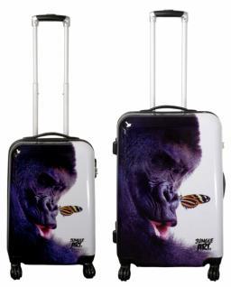 Kofferset 2tlg Reisekoffer Polycarbonat Hartschale Jungle-Arts GORILLA